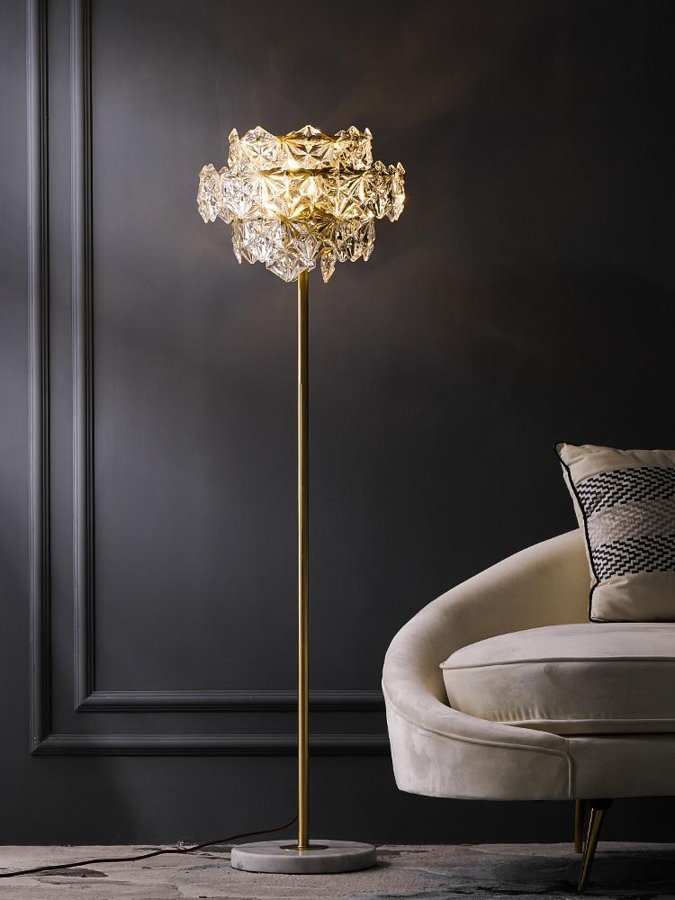 Скандинавский роскошный светодиодный напольный светильник, медный кристалл, для гостиной, дома, стоячее освещение, для спальни, вилла, мрам...