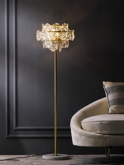 Nordic Luxury LED Floor Lamps Copper Crystal Living room Home Standing lighting Bedroom Villa Marble Vertical Lights