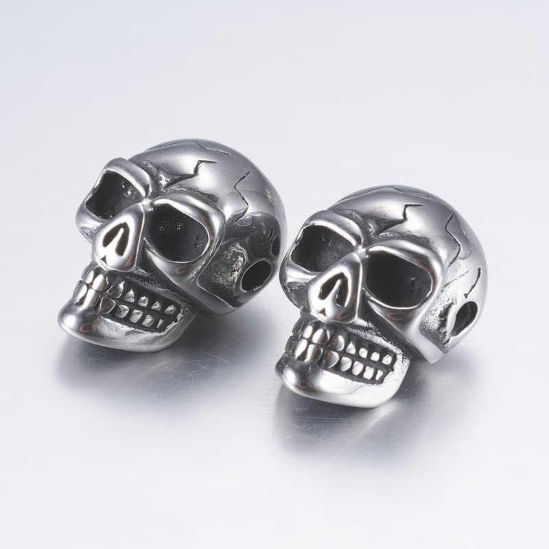 10pcs Antico Argento 304 In Acciaio Inossidabile Del Cranio Borda Il braccialetto della collana FAI DA TE Che Fanno per Halloween Decorare 14x9.5x 9mm, foro: 2 millimetri di F5