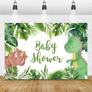 Image 5 - Laeacco Geburtstag Kulissen Dschungel Party Jurassic Welt Dinosaurier Neugeborenen Fotografie Hintergründe Baby Dusche Photophone Photocall
