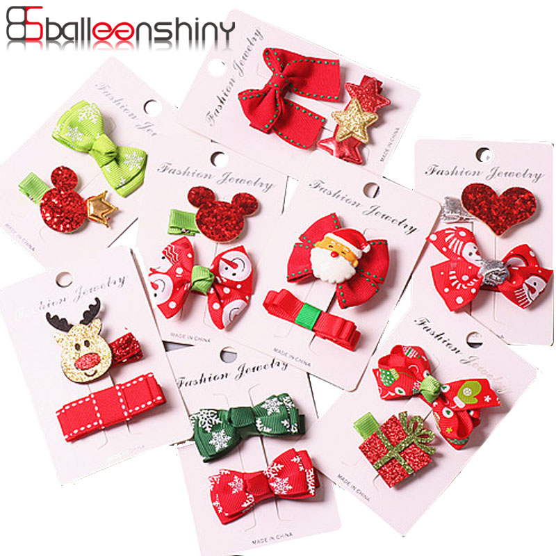 BalleenShiny 2-5PCS Christmas Decor Baby Hairpins Red Fashion Bowknot Fur Hair Clips Child Kids Santa Claus Elk Hair Accessories