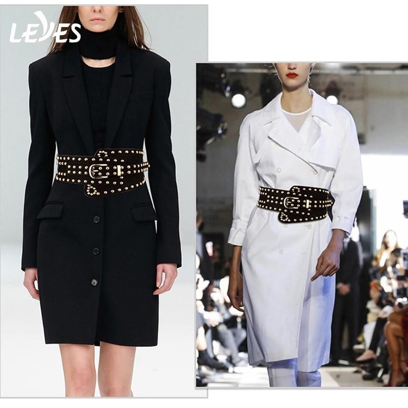 Fashion Leather Belts For Women Punk Femal Rivet Elastic Belt Wide Buckle Vintage Designer Brand Dress Ladies Retro Waist Strap