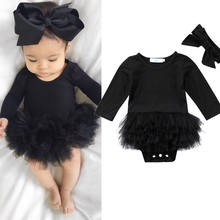 Bebê recém-nascido menina preto manga longa macacão bodysuit tutu vestido bowknot bandana moda roupa conjunto