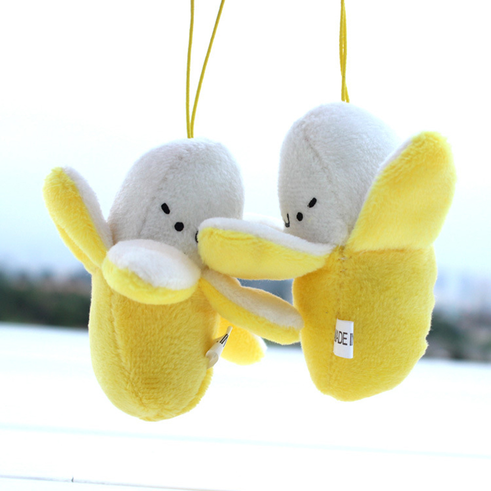 Cute Cell Phone Strap Charm Mobile Phone Skinned banana Plush Doll Phone Strap Pendant Cellphone Decoration Accessories