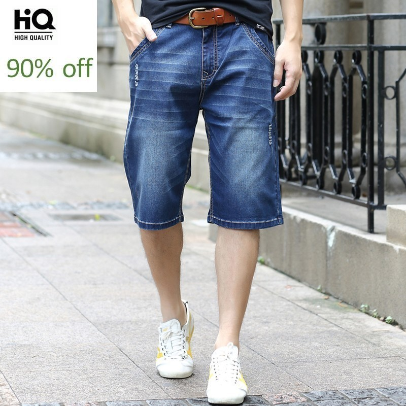 Plus Size Loose Fit Men's Casual Denim Shorts Thin Jeans Shorts For Young Men Straight Knee Length Pants Mens Clothing 2020