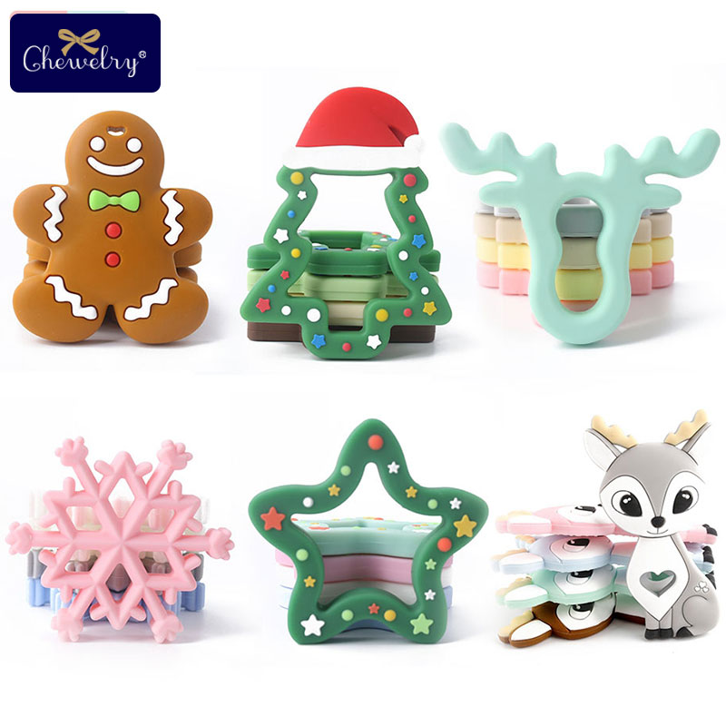 1pcs Baby Teether Silicone Rodent Unicorn Christmas Gifts Tree Deer For Pacifier Pendant Tiny Rod DIY Baby Product Teething Toys