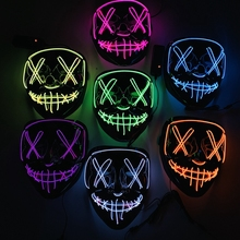 Halloween Masquerade Party Light Up LED Masks Neon Funny Masks  Festival Cosplay Costume Prop In The Dark Horror Glowing Masker
