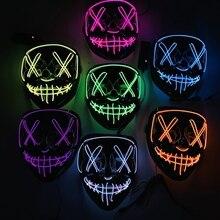 ליל כל הקדושים מסיבת תחפושות אור עד LED מסכות ניאון מצחיק מסכות פסטיבל Cosplay תלבושות אבזר בחושך אימה זוהר Masker