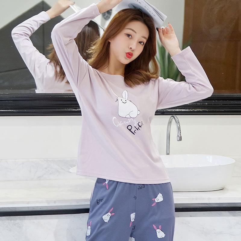 New Products Thin Pajamas Women Long Sleeve Summer Cartoon PR Rabbit Cute Tracksuit Women's 130 Grams Qmilch Set