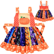 Carnival Kids Halloween Pumpkin Bat Costume Child Dress Cartoon Pattern Printed Twirl