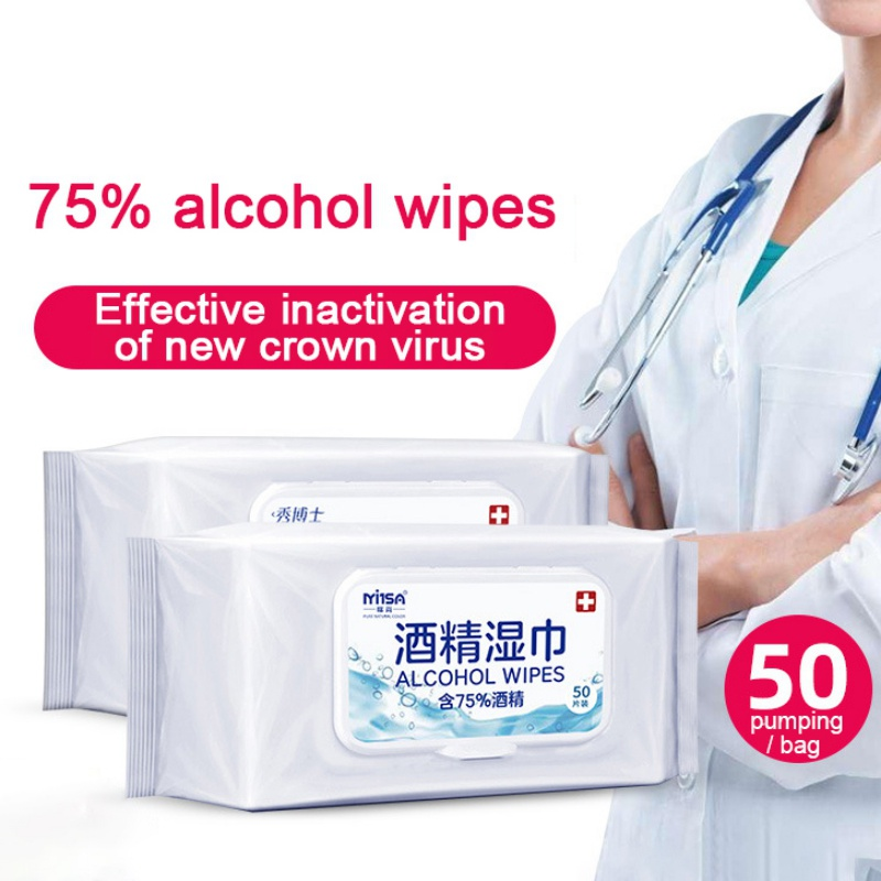 50Pcs Flushable Wipes Extra Large Touch Lens Cleaning Wipes For Adults Wet Wipes Alcohol Wipes