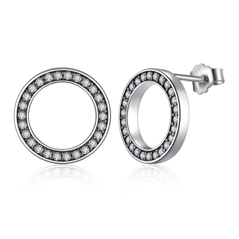 WOSTU Hot Fashion 100% 925 Sterling Silver Lucky Forever Circular Stud Earrings For Women Authentic Original Jewelry Gift 5