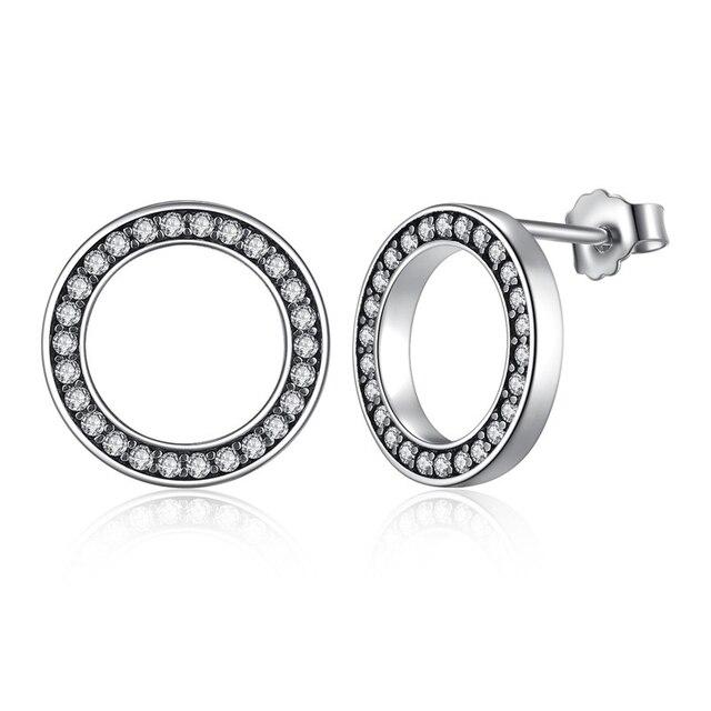 Lucky Circle Stud Earrings Earrings Gem Color: Silver