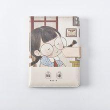 2020 new kawaii Notebook students' creative leather book girls cute handbook A6 notebook  A5 diary mirui leather hardcover notebook cute cartoon cat mini handbook snap fastener type retro thickening notebook