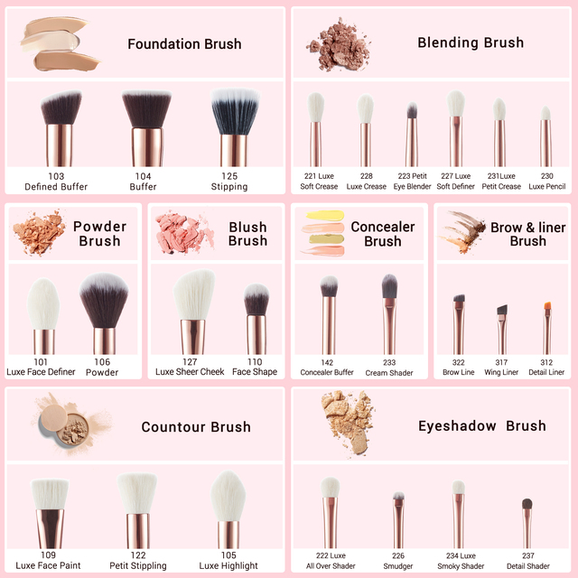 Jessup Makeup brushes set 6-25pcs Pearl White / Rose Gold Professional Make up brush Natural hair Foundation Powder Blushes 5
