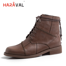 HARAVAL Winter Women Fashion Ankle Boots Luxury Genuine Leather Round Toe Low Heel Lace-up Shoes Solid Warm Handmade Boot B237