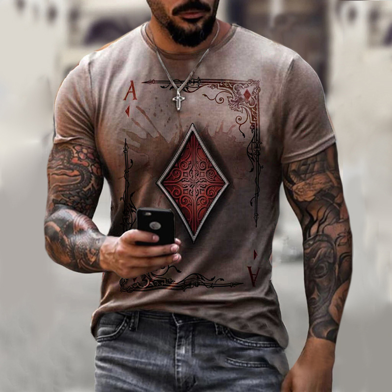 2021 New Cool poker t-shirts fashion street wear Casual t shirt for men Quick-drying male tops