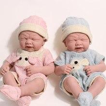 35cm lifelike corpo inteiro silicone reborn bonecas brinquedos de vinil macio bebe reborn da criança do bebê boneca recém-nascido bonito brinquedo para presentes crianças boneca