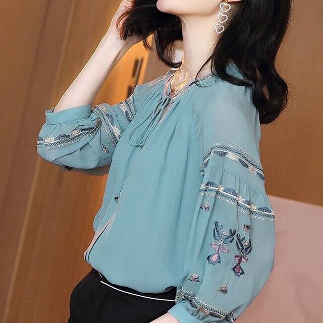 Women Spring Autumn Style Chiffon Blouses Shirts Lady Casual Long Sleeve O-Neck Loose Chiffon Blusas Tops DD8852 3