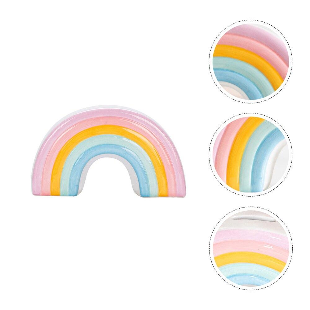 Creative Rainbow Design Money Box Lovely Coin Bank Saving Pot Desktop Decor