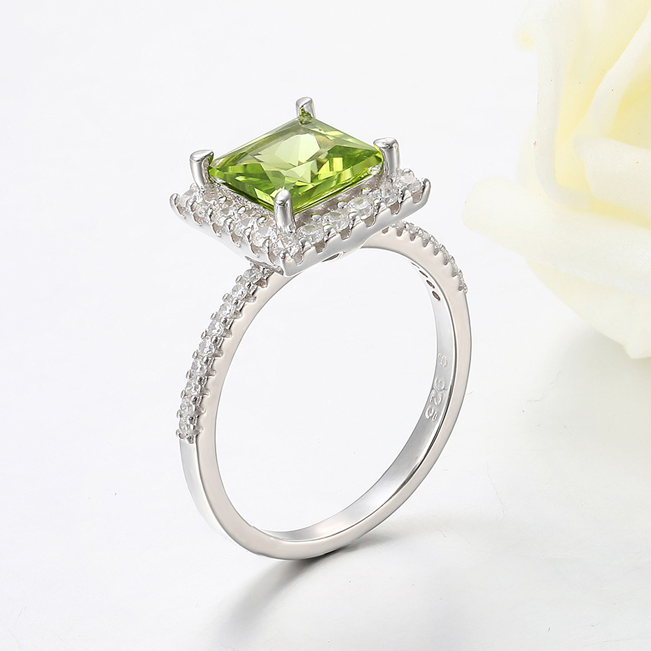 Image 3 - Kuololit 7x7mmNatural Peridot Gemstone Rings for Women Real 925  Sterling Silver Princess Cutting Wedding Engagement Fine JewelryRings