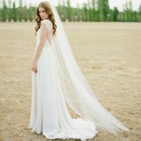 Cheap Waltz Veil Cut Edge White Long Bridal Veils One Layer Wedding Veils with Comb Vintage Bridal Wedding Party Veils 1
