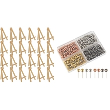 24Pcs 12.7cm Mini Wooden Display Stands, Easels & 800 Pcs 1/8-Inch Retro Metal Beads Head Marking Push Pins, 4 Colors