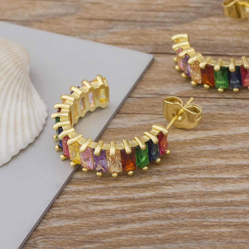 Venta caliente encanto Bohemian moda pequeña oreja brazalete pendientes para mujeres coloridas Zirconia cúbica piedras pendientes redondos joyería