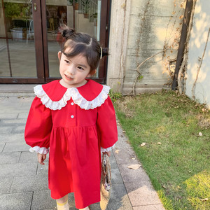 Image 2 - Spring New Arrival korean style cotton long sleeve princess dress with lace collar and sleeve for sweet cute baby girls