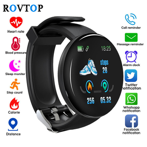 Smart Watch D18 Blood Pressure Fitness Tracker Round Smartwatch Waterproof Sports Smart Watch Men Women For Android Ios Z2(China)