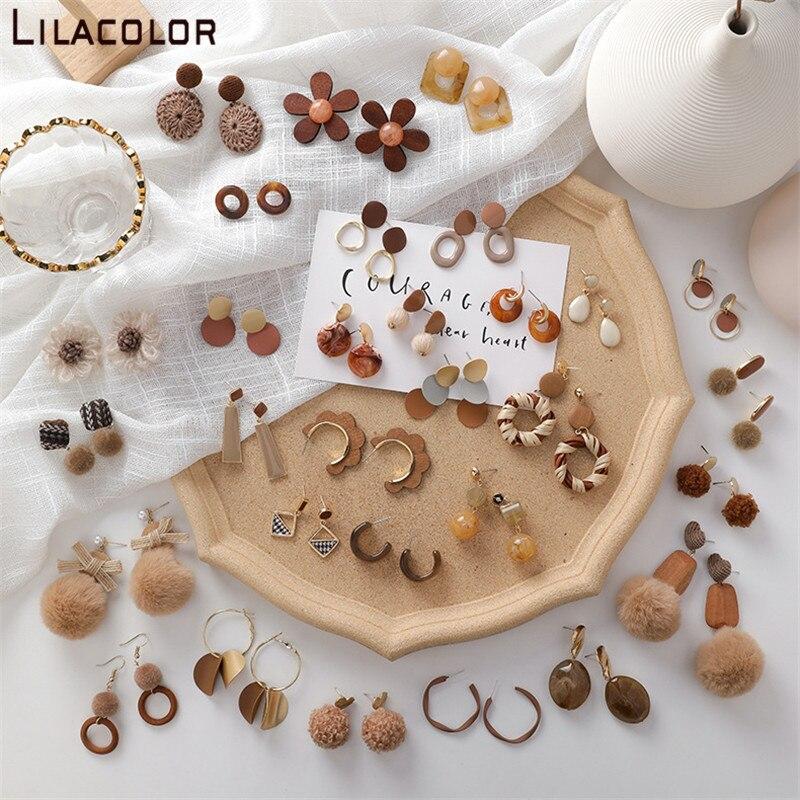 Vintage feminino marrom balançar brincos arte design acrílico de pelúcia senhora meninas gota brinco doce festa praia jóias de madeira brincos