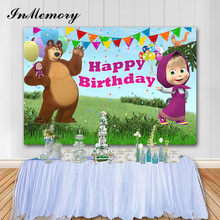 InMemory Cartoon Photography Background Masha and Bear Kids Birthday Photo Background Vinyl Photobooth Props Photophone Banner