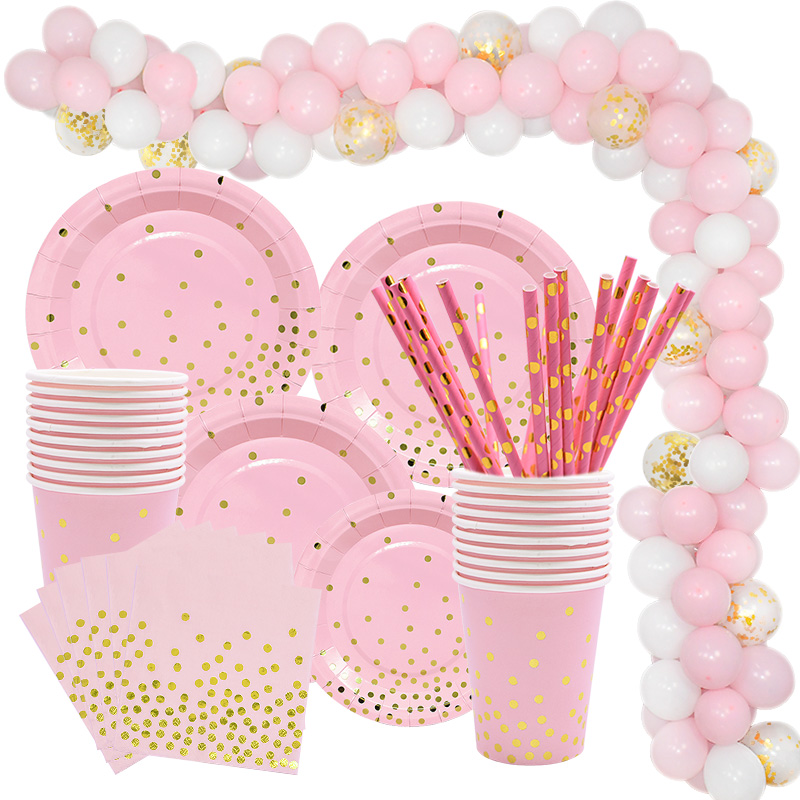 Gold Pink Disposable Tableware Set Paper Plates Cup Napkin Baby 1st Birthday Party Decor Baby Shower Girl Party Supplies Balloon
