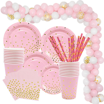 Gold Pink Disposable Tableware Set Paper Plates Cup Napkin Baby 1st Birthday Party Decor Baby Shower Girl Party Supplies Balloon gold dot disposable tableware set cup plate napkin banner baby 1st birthday party decor baby shower girl party supplies