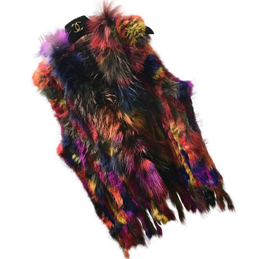Fashion Womens Real Knitted Rabbit Fur Vests with Raccoon Fur Collar Gilets High Quality Close-woven Waistcoat Plus Size