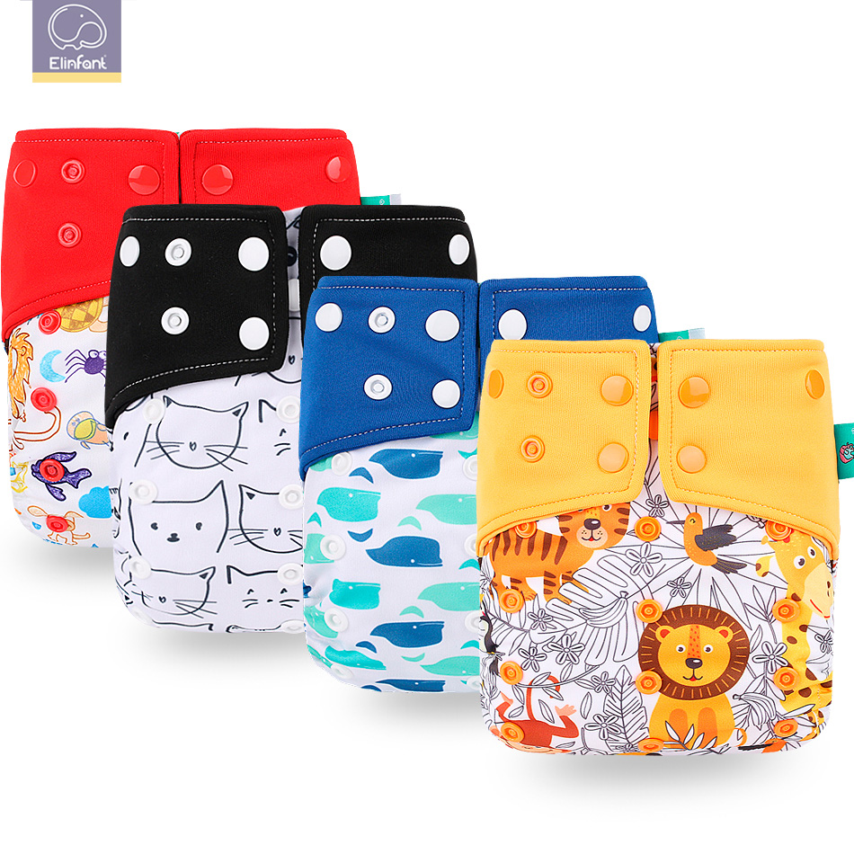Elinfant 1pcs Washable Baby Cloth Diaper Pocket Waterproof Cartoon Owl Baby Diapers Reusable Cloth Nappy Suit 0-2years 3-15kg