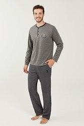 US Polo Assn Male Navy Blue Patlı Pajamas Suit 18248