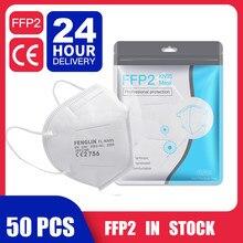 50 pces navio de espanha frança ffp2 kn95 filtro facial máscaras de rosto poeira segurança não tecido earloop descartável ffp2mask
