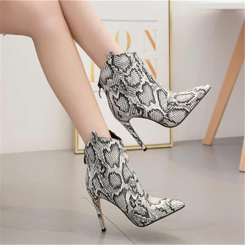 2019 Women 11cm High Heels Fetish Stripper Knight Boots Chelsea Heels Ankle Short Boots Scarpins Stiletto Serpentine Shoes