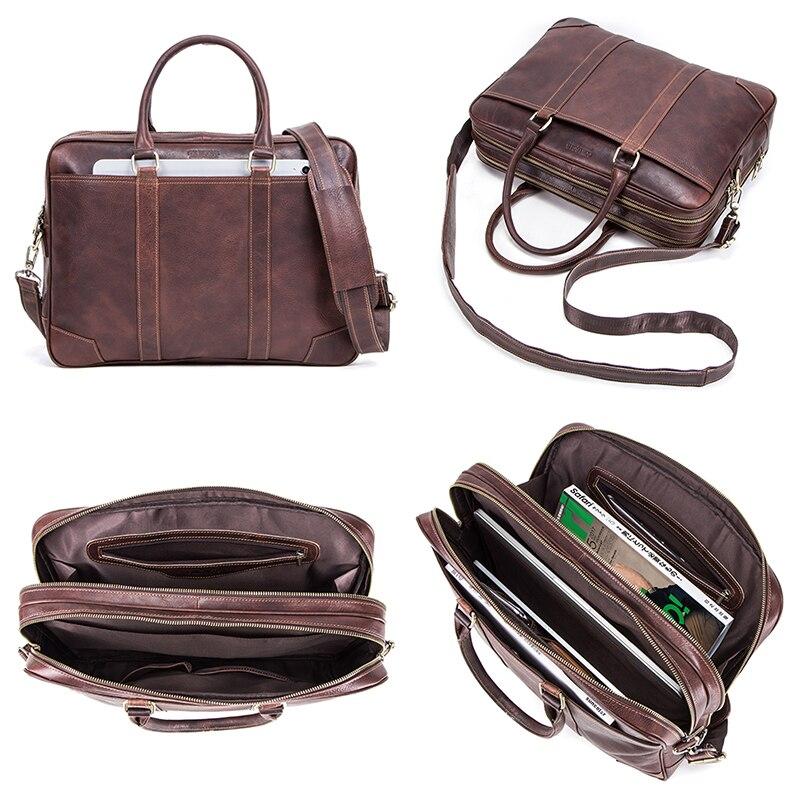 CONTACT'S Business Man Bag Vegetable Cow Leather Briefcase Bags For Men Laptop Shoulder Bag Quality Male Handbags Portafolio - 5