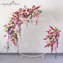 Custom European wedding arch decor artificial flower wrought iron wedding props fake flower row wedding background flower wall