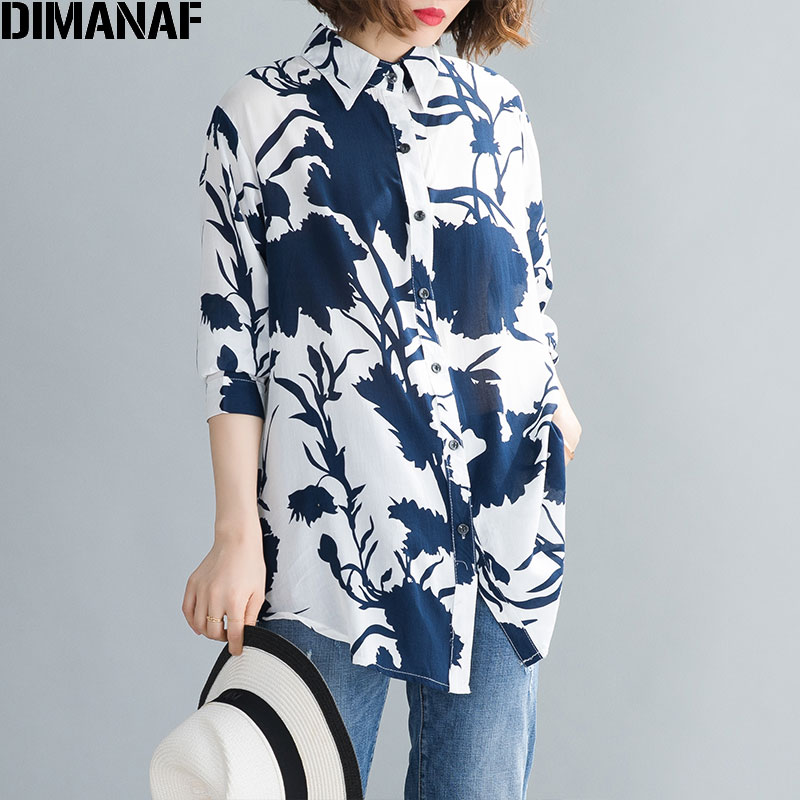 DIMANAF Plus Size Women Shirts Spring Summer Lady Tops Tunic Cotton Casual Loose Print Long Sleeve Button Cardigan Clothes 2020