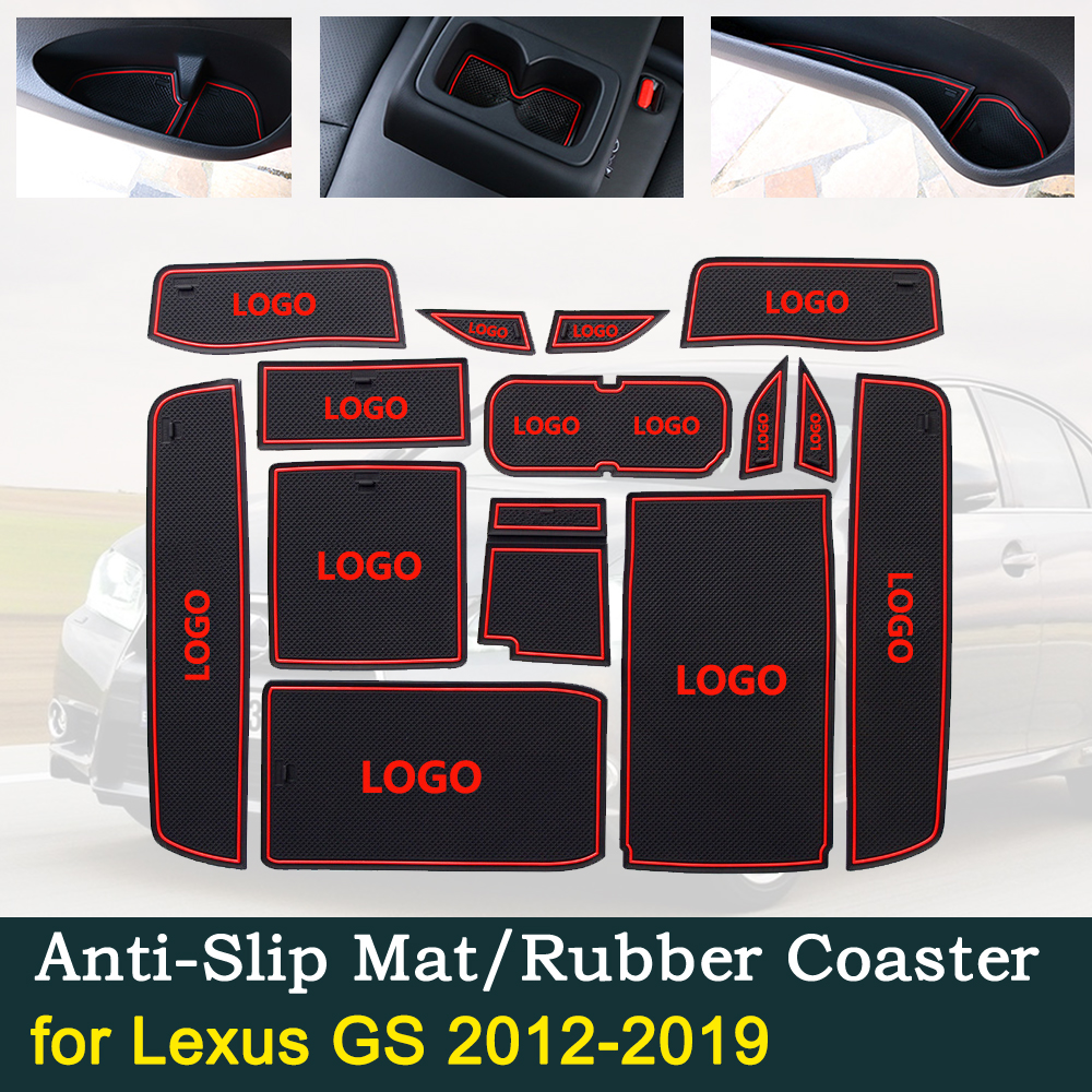 Anti~slip Door Rubber Cup Cushion for <font><b>Lexus</b></font> <font><b>GS</b></font> <font><b>2012</b></font>~2019 2014 2018 250 300 350 450h F SPORT Groove Mats Car Interior Accessories image