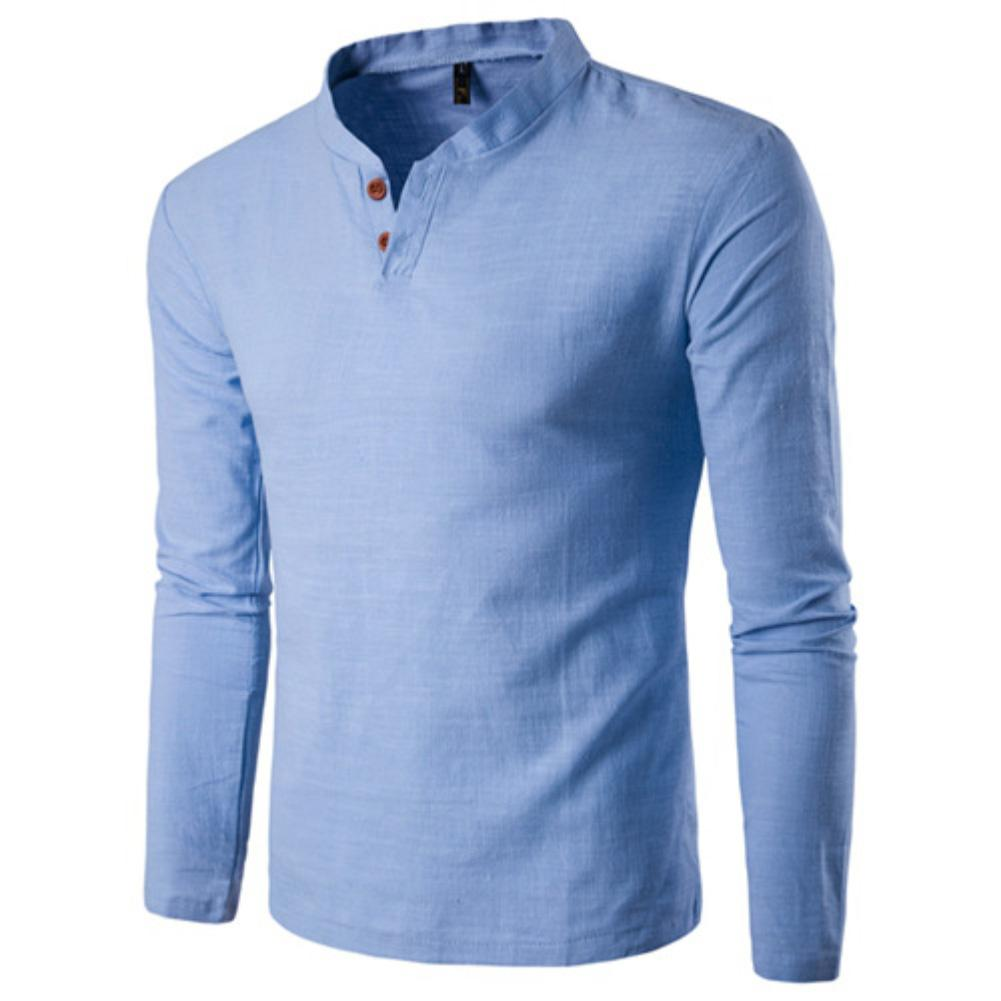 Men Chinese Style Buttons V-Neck Long Sleeve Stand Collar Cotton Linen Shirt Top Cotton Linen Blend Stand Collar Buttons Buttons