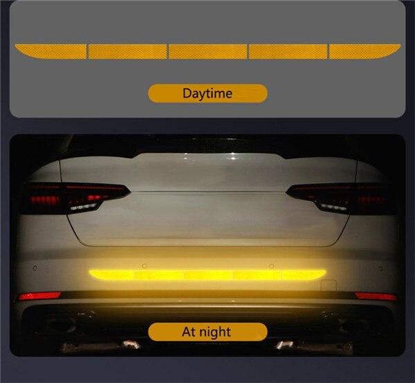 Нано Светоотражающая наклейка для автомобиля Предупреждение льная лента бесследная Защитная Наклейка для автомобиля предупреждающая на кузов багажника внешние автомобильные аксессуары - Название цвета: Diamond Yellow