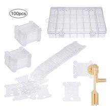 100 peças de plástico fio floss bobinas com fio enrolador e bordado organizador caixa ponto cruz artesanato diy costura armazenamento conjunto