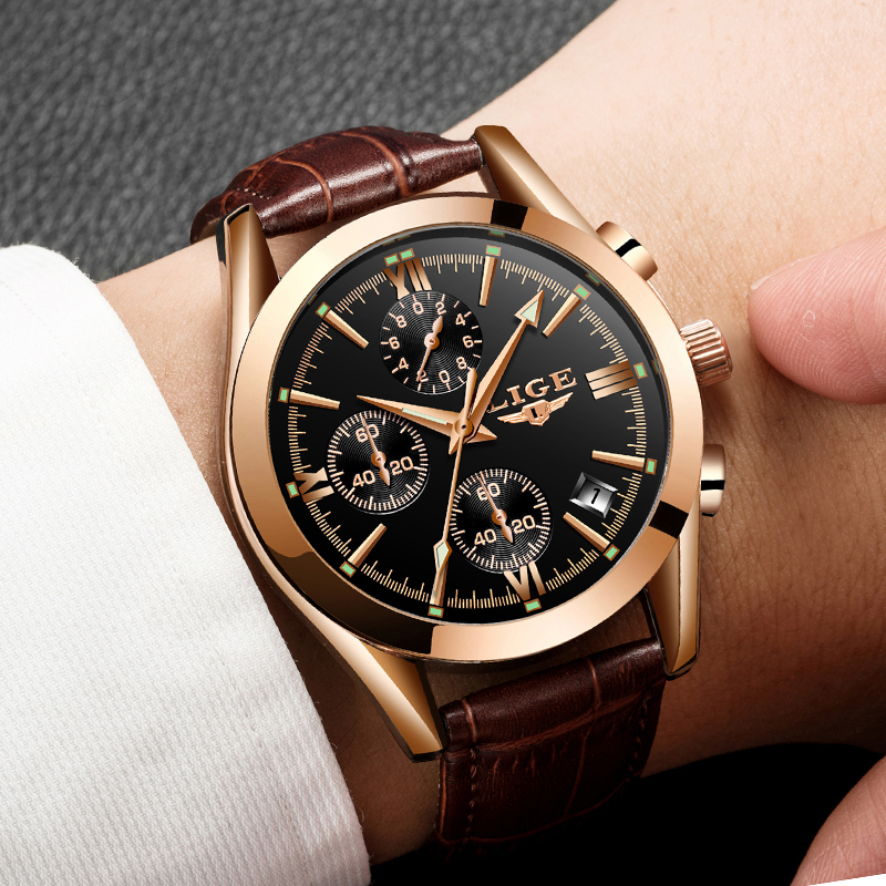 Image 2 - montre homme LIGE Fashion gold Mens Watch Leather Analog Quartz watches Men 30M Waterproof Sport Chronograph Date Male Clock+box-in Quartz Watches from Watches