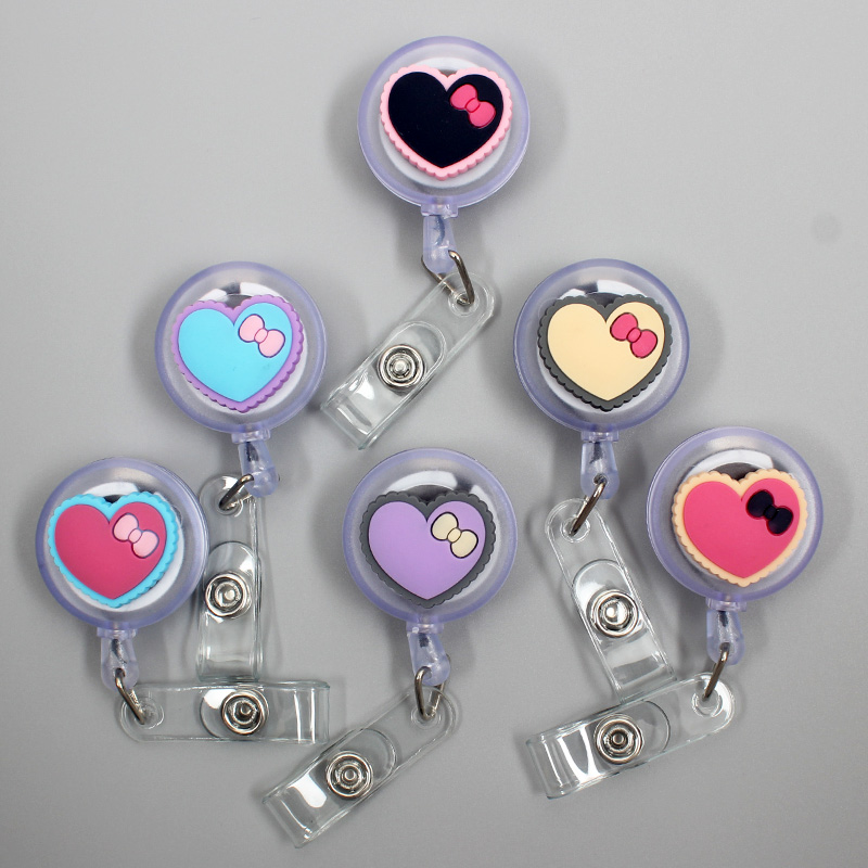 New 60cm Silicone Loving Heart With Bowknot Retractable Badge Reel Students & Nurse Exhibition Enfermera Name Card ID Card Chest
