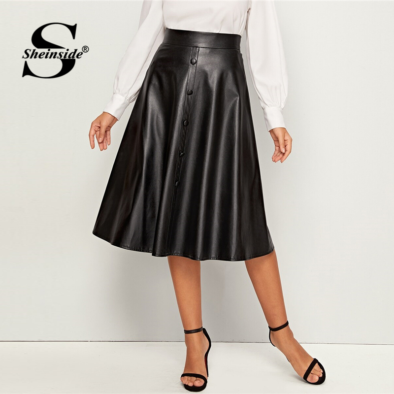 Sheinside Black Elegant Button Front PU Leather Midi Skirt Women 2019 Autumn High Waist Skirts Ladies Solid A Line Skirt