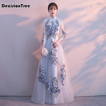 2020 traditional embroidery floral cheongsam elegant chinese women evening dress vintage oriental bride wedding qipao